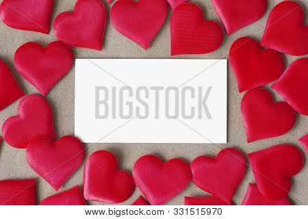 Postcard Background, Decorated With Hearts. Decorative Card For The Holiday. Vanentine Day.valentine