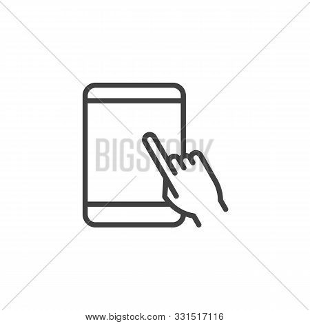 Touchscreen Tablet Display Line Icon. Linear Style Sign For Mobile Concept And Web Design. Hand Touc