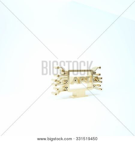 Gold Computer Api Interface Icon Isolated On White Background. Application Programming Interface Api
