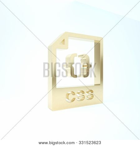 Gold Css File Document. Download Css Button Icon Isolated On White Background. Css File Symbol. 3d I