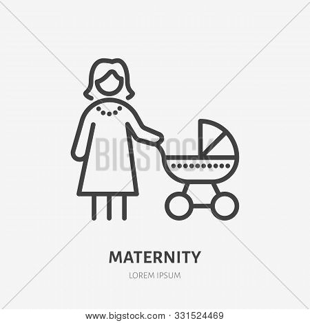 Mother Baby Line Icon, Vector Pictogram Of Woman With Stroller. Young Mom On Maternity Leave, Babysi