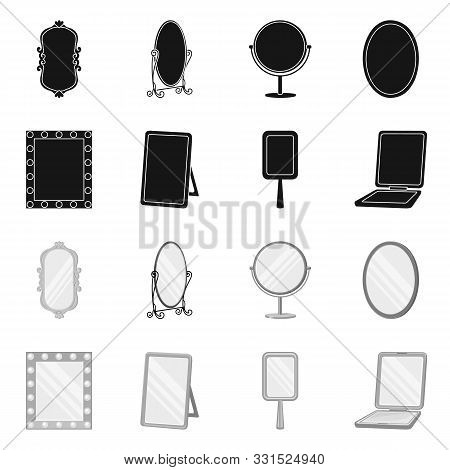 Vector Illustration Of Reflect And Piece Icon. Collection Of Reflect And Furniture Stock Vector Illu