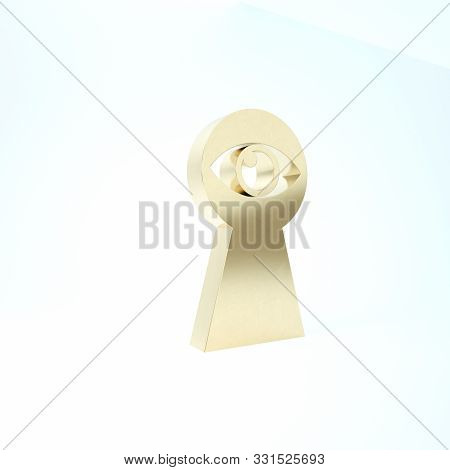 Gold Keyhole With Eye Icon Isolated On White Background. The Eye Looks Into The Keyhole. Keyhole Eye