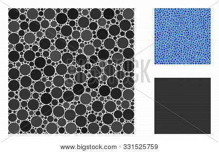 Filled Square Composition Of Filled Circles In Various Sizes And Color Tints, Based On Filled Square