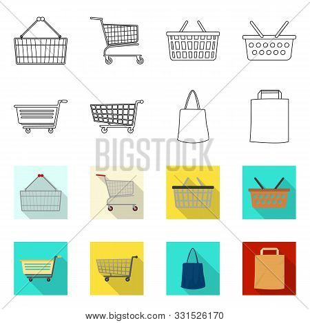 Vector Illustration Of Pushcart And Cart Symbol. Collection Of Pushcart And Market Vector Icon For S