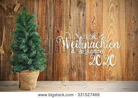 Christmas Tree, Wooden Background, Frohe Weihnachten Means Merry Chirstmas