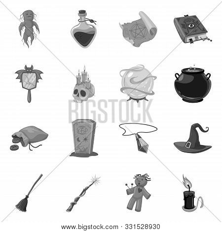 Vector Design Of Gothic And Fantasy Logo. Collection Of Gothic And Witchcraft Vector Icon For Stock.