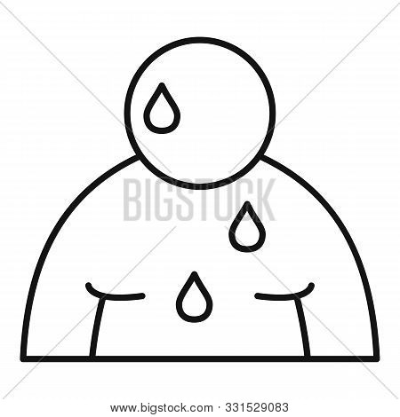 Sweat Overweight Man Icon. Outline Sweat Overweight Man Vector Icon For Web Design Isolated On White
