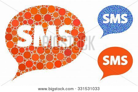 Sms Composition Of Small Circles In Different Sizes And Color Tints, Based On Sms Icon. Vector Rando