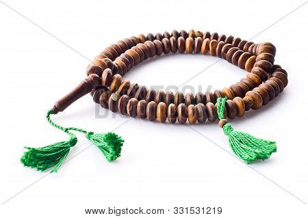 Closeup of an isolated japamala or tibetan chaplet on a white background poster