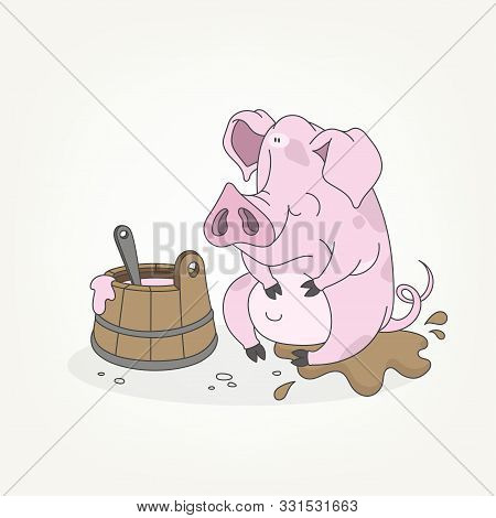 Cartoon Character Of A Forest Animal. Funny Cute Full Pink Pig Sitting And Posing In The Mud Next To