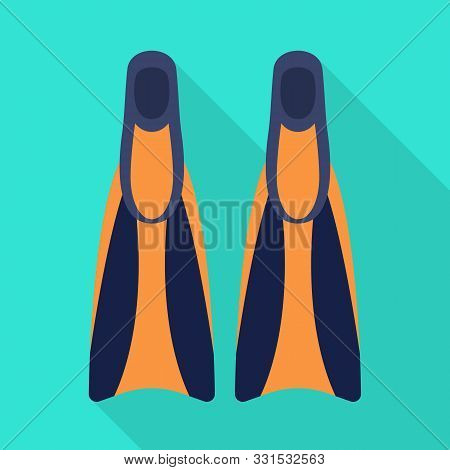 Vector Illustration Of Flippers And Sea Sign. Graphic Of Flippers And Flipper Stock Symbol For Web.
