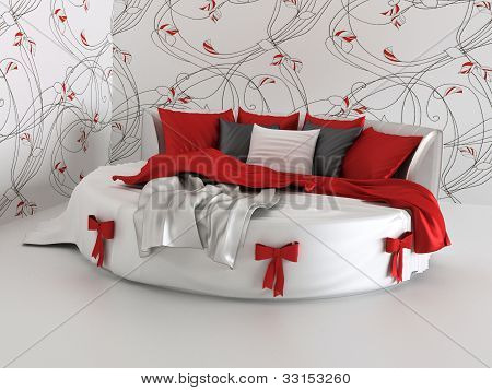 Gift Bed In Modern Interior With Wallpapers