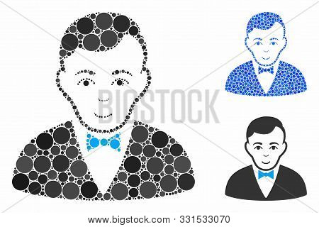 Dealer Mosaic Of Round Dots In Different Sizes And Color Tints, Based On Dealer Icon. Vector Dots Ar