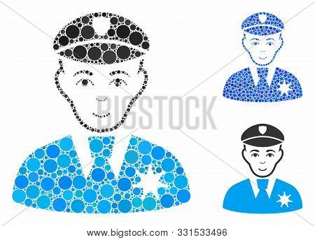 Sheriff Mosaic Of Round Dots In Variable Sizes And Color Tints, Based On Sheriff Icon. Vector Dots A
