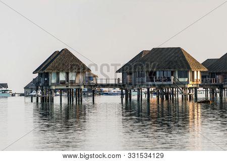 Kanifinolhu, Maldives - November 19, 2017: Water Bungalows Of The Club Med Kani Maldives Resort In K