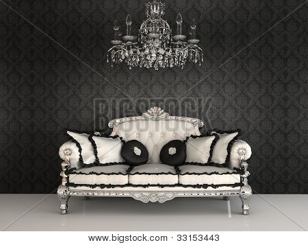 Royal sofa with pillows and chandelier in luxurious interior with ornament wallpapers poster