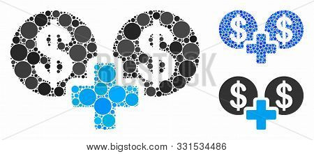 Sum Money Mosaic Of Filled Circles In Various Sizes And Shades, Based On Sum Money Icon. Vector Fill