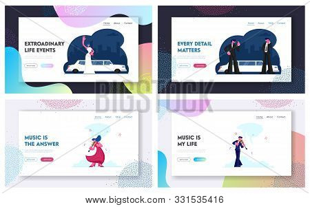 Celebrity Arriving On Gala Show, Violin Players Performing On Stage Website Landing Page Set. Vip Pe