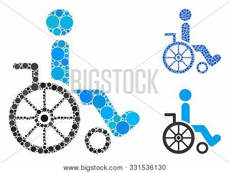 Wheelchair Composition Of Round Dots In Variable Sizes And Color Tones, Based On Wheelchair Icon. Ve