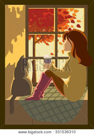 Young Girl Enjoys The Autumn Scenery From The Window