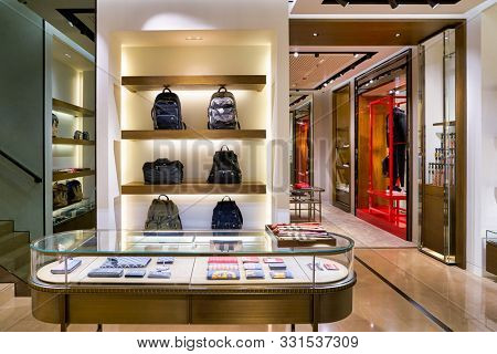 HONG KONG, CHINA - CIRCA JANUARY, 2019: interior shot of Burberry store in Elements shopping mall. Burberry Group PLC is a British luxury fashion house