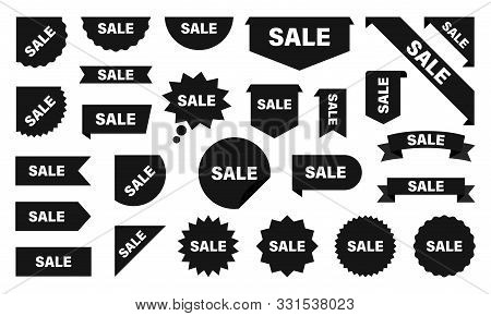 Sale And New Label Collection Set. Sale Tags. Discount Red Ribbons, Banners And Icons. Shopping Tags