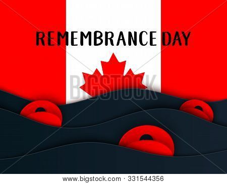 Vector Remembrance Day Web Layers Banner. Canadian Red Poppy Flower Symbol Of Peace. Anzac, Memorial
