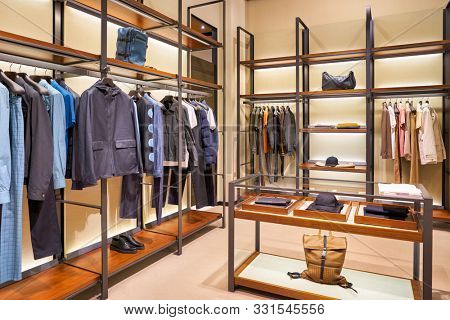 HONG KONG, CHINA - CIRCA JANUARY, 2019: interior shot of Bottega Veneta store in Elements shopping mall. Bottega Veneta is an Italian luxury goods and high fashion brand.