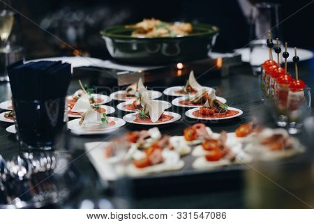 Catering Food Mini Canape In Restaurant Weeding