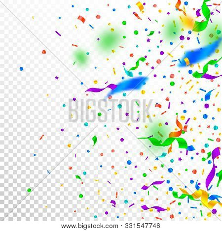 Streamers And Confetti. Festive Tinsel And Foil Ribbons. Confetti Gradient On White Transparent Back
