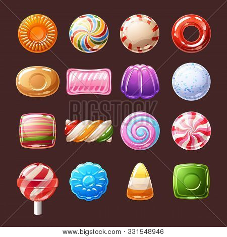 Colorful Candies Sweets Icons - Lollipop, Toffee, Peppermint Candies Vector Illustration.