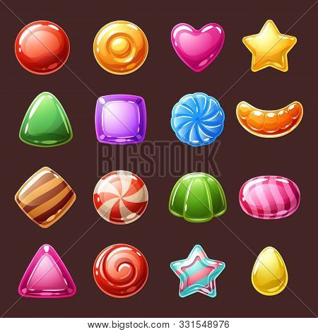 Colorful Candies Sweets Icons - Caramel, Hard Candies, Peppermint Candies Vector Illustration.