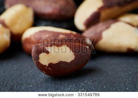 Close Up Of Brazil Nut (bertholletia Excelsa) On Black Background