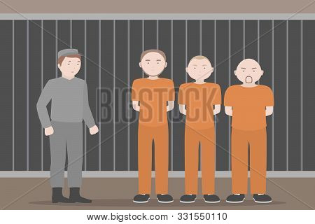 Prison Officer And Prisoners In Orange Jumpsuits. Vector Illustration.