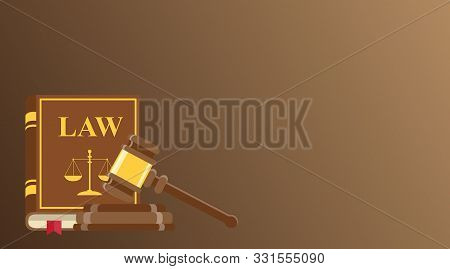 Business Card For Lawyer Or Judicial Worker. Judge Hammer And Law Book On Brown Background. Conceptu