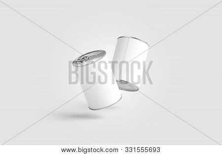 Blank Two White Big Conserve Can Mockup, No Gravity, Gray Background, 3d Rendering. Empty Tomato Or