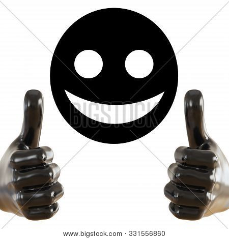 Black Figurine Of A Hand With A Protruding Thumb Up On And Black Round Face With A Smile An Isolated