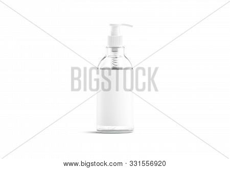 Blank Transparent Glass Pump Bottle With White Label Mock Up, 3d Rendering. Empty Container With Ant