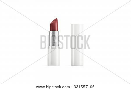 Blank White Opened And Closed Tube With Red Lipstick Mockup, 3d Rendering. Empty Classic Elegance Hu