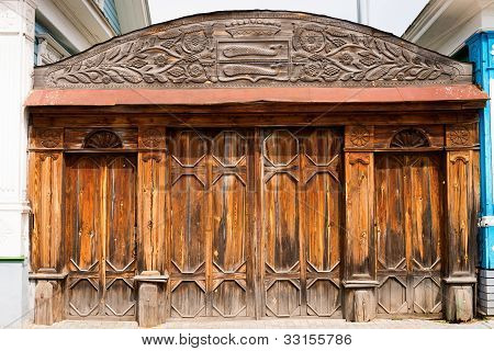 Old wooden ornate gate