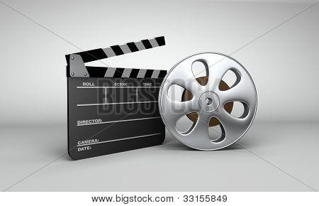 Movie Reel & Clapboard