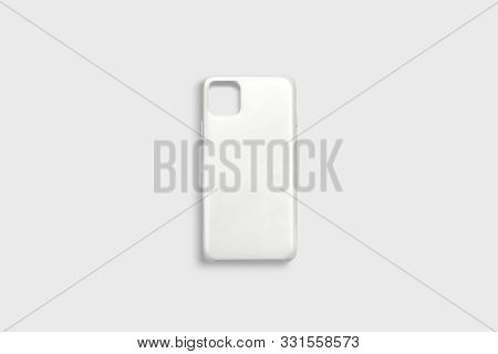 Blank White Phone Case Mock Up, Isolated On Gray Background, 3d Rendering. Emtpy Pro Plastic Coverin