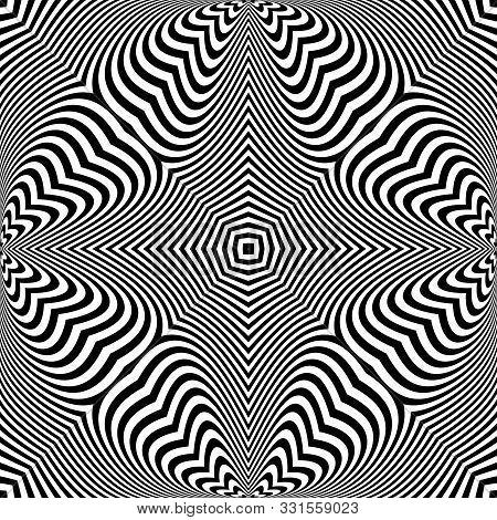 Geometric Op Art Pattern. Lines Texture. Vector Art.