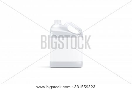 Blank Transparent Plastic Canister With Water Mockup Stand Isolated, 3d Rendering. Empty Jug With La