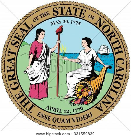 Coat Of Arms Of North Carolina Is A State Located In The Southeastern Region Of The United States. V