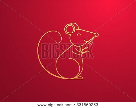 Golden Rat With Smile, Symbol Of Chinese New Year 2020. Outline Rat Sign, Festive Golden Mouse Silho
