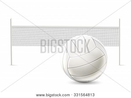 Vector Realistic Beach Volley Net White Mockup
