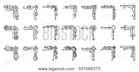 Corner Border Fancy Thin Line Icons Set. Outline Decorative Frame Kit Abstract Decor Linear Icon Col