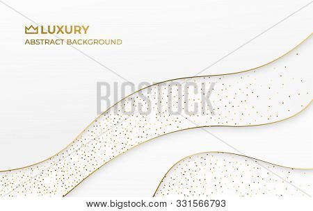 White Gold Abstract Luxury Elegant Royal Background. Layered Paper Style Graphic Design Pattern. Flu